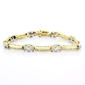 Estate-Diamond-Bracelet-14K-Yellow-Gold-2-25-CTW-Round-Diamonds-Ladies-7-25-034