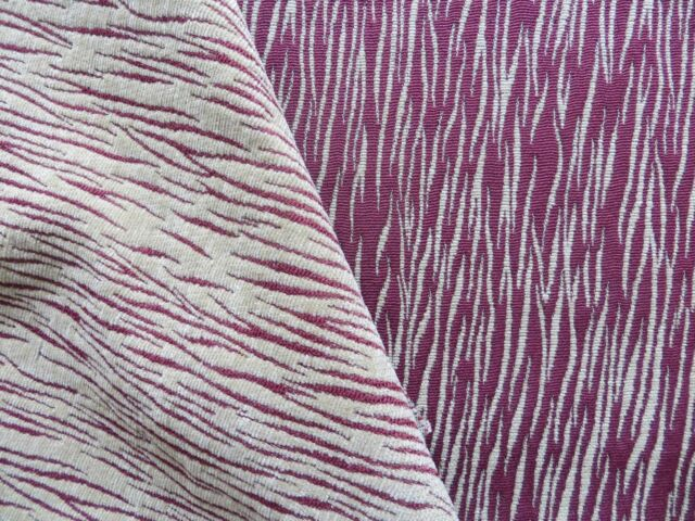 Reversible chenille burgundy and camel woven wavy stripes upholstery material