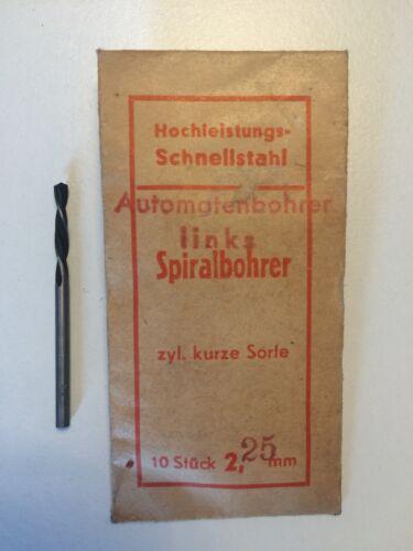 Ø2,25mm zyl kurze Sorte 10 Stk Hochleistungsschnellstahl Spiralbohrer LINKSBOH