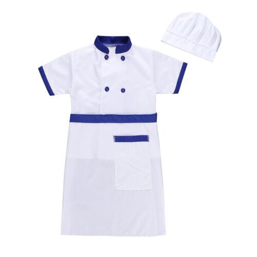 Chef Kids Fancy Dress Baker 4pcs Cook Uniform Outfit Boys Girls Cosplay Costume