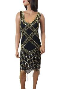 Details about Women 1920\'s Gatsby Flapper Golden Fringe Deco Hem  Embellished Dress Plus Size