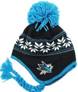 San Jose Sharks CCM Classics NHL Team Logo Pom Pom Knit Hat Beanie ... 0063d4cd9164