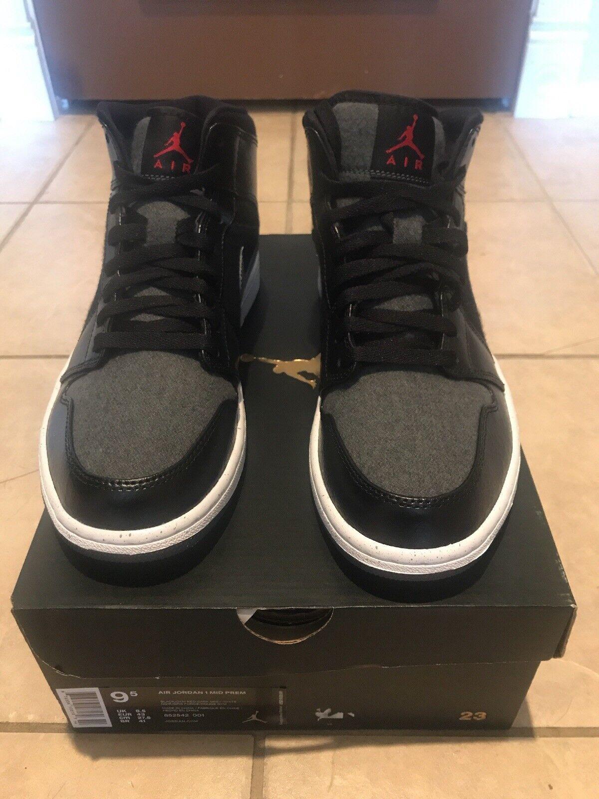 NIB Hombre Nike Air Jordan 1 Mid Premium Tamaño zapatos 9,5 852542 001 nuevos zapatos Tamaño para hombres y mujeres, el limitado tiempo de descuento b029ce
