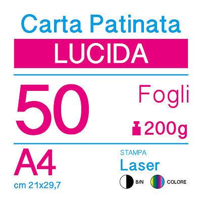 50 FOGLI cm 21x29,7 250g PER STAMPANTI LASER CARTA PATINATA LUCIDA A4