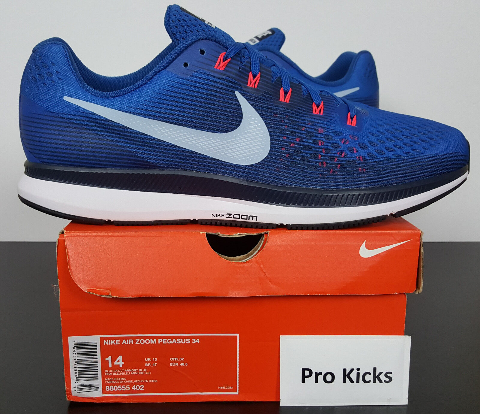 7c98e0d7aa81 Nike Air Zoom Pegasus 34 Mens Running Shoes 14 Blue Jay Armory Blue ...