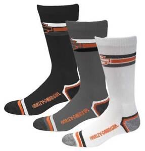 Harley-Davidson-Wolverine-Men-039-s-3-Pack-Retro-Rider-Wicking-Socks-D99218870-990