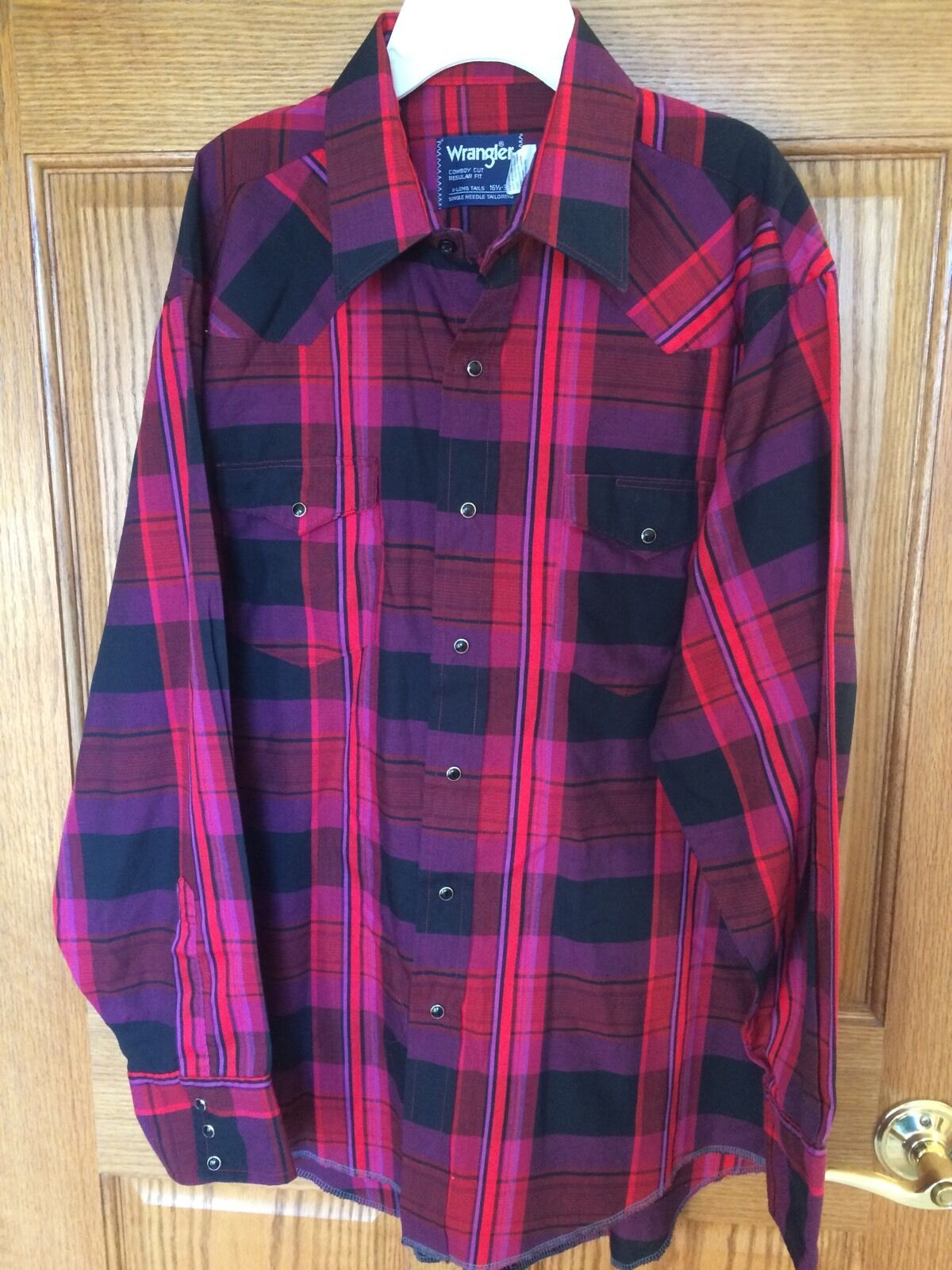 Vintage Wrangler Plaid Pearl Snap Cowboy Rodeo Western Shirt X-Long Tails bx16
