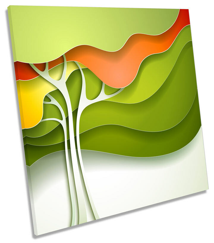 Grün Abstract Tree Funky CANVAS WALL ART SQUARE Picture Print