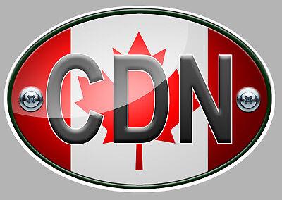 OA023 OVALE DRAPEAU CANADA FLAG 12cm AUTOCOLLANT STICKER AUTO MOTO