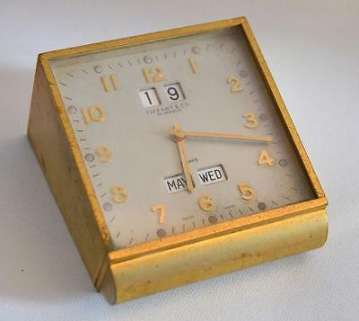 Vintage 1970s Tiffany & Co. 15 Jewels Bronze Month Day Year Desk Clock