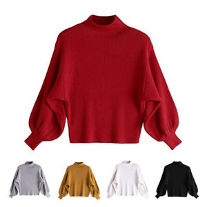 Women-Turtleneck-Lantern-Sleeve-Solid-Knit-Sweater-Loose-Winter-Warm-Jumper-Top