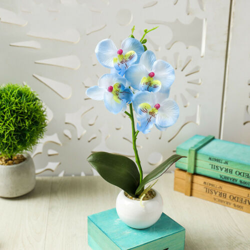 AU Romantic Artificial Fake Silk Potted Plant With Flowers Plant Decoration