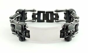Men's Stainless Steel Silver Black Bike Chain ID Plate Skull Bracelet US Seller!