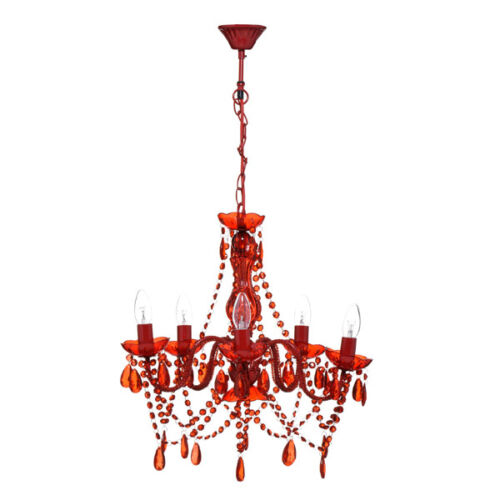 5 Arm Red Versailles Chandelier Acrylic Beads Frame For Home Office Use New