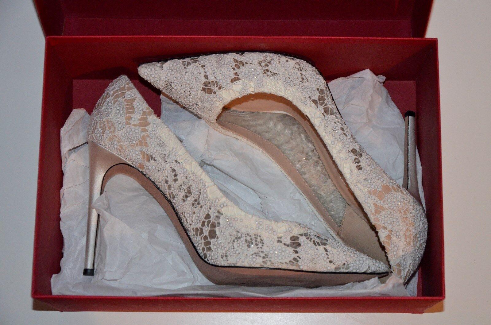 Valentino Garavani 35,5 36 Scarpe Da Sposa Pizzo Lace nude white bridal Pumps