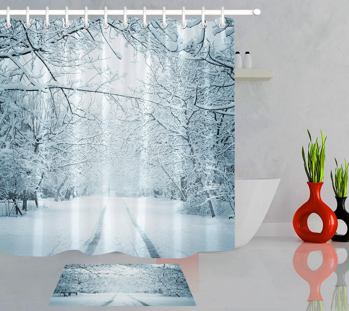 Bathroom Fabric Extra Long Shower Curtain Liner Winter