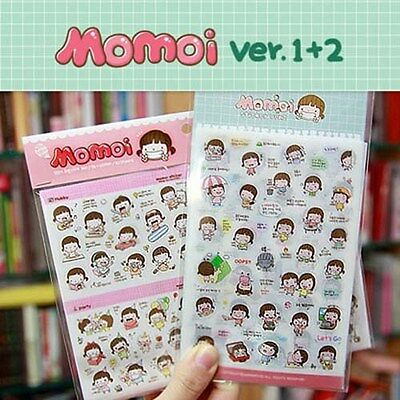 Diary Sticker Korean Momoi ver.1 + ver.2 Memo Planner Korean Stationary 2set