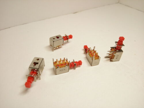 5X Pack Maintained 6 Pins 8 w//Legs Push Button Power Switch Red Reset KXW Self L