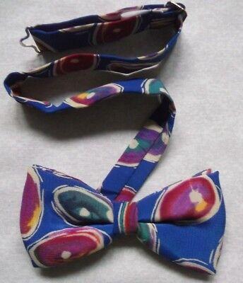 Vintage Papillon Da Uomo Retrò Dickie Papillon Regolabile 1980s Astratto Blu-