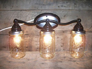 Ball Jar Vanity Lights : Mason Jar Light 3-Light Weathered Bronze Vanity Light Authentic Ball Mason Jars eBay