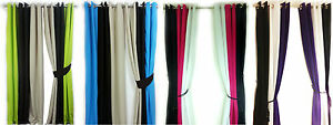 Eyelet-curtains-Ring-Top-Fully-Lined-Pair-Ready-made-PLAIN-3-TONE-LIME-PINK-TEAL