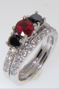 Image Is Loading Blood Red Ruby Diamond And Black Double