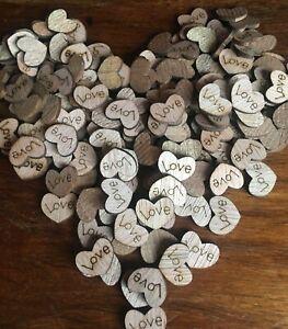 50 X En Bois Love Hearts-craft Scrapbook Carte Décorations Table De Mariage #2-afficher Le Titre D'origine Vente D'éTé SpéCiale