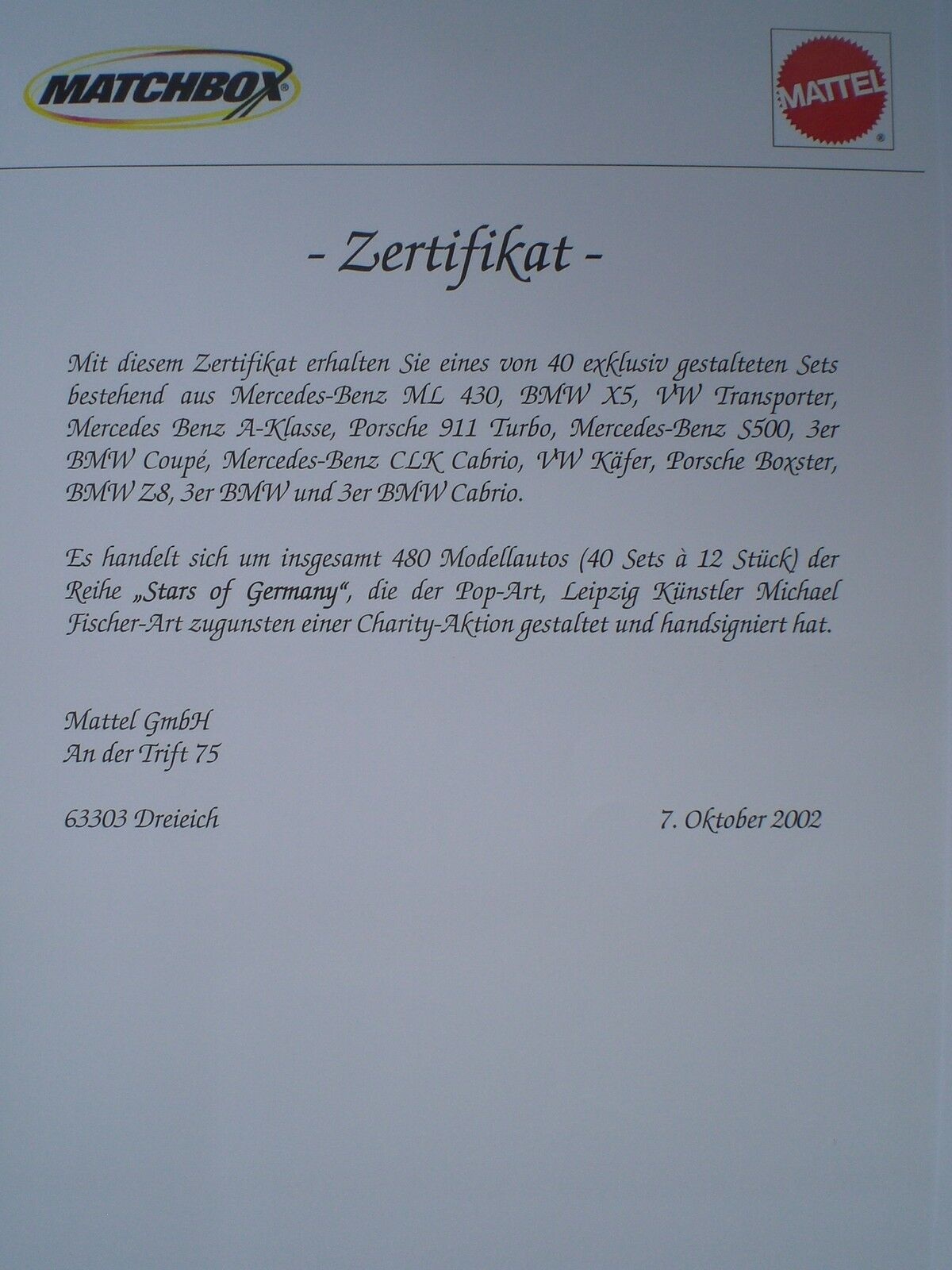MATCHBOX LIMITIERT FISCHER-ART-SET  23 40 40 40 MERCEDES-BENZ S 500 CODE 1 2002  | Schöne Kunst  b0e2cb