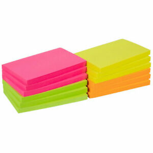 Remove Sticky Notes NEW Assorted Neon Post Notes 76mm x 127mm 10 packs of 100