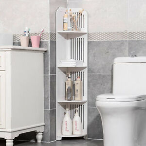 new arrival cf1eb 338ae Details about Wood-Plastic Bathroom Cabinet Shelf Cupboard Storage Toilet  Unit Free Standing