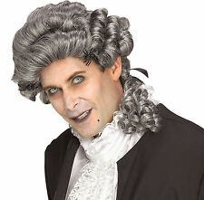 Gray Male Wicked Court Wig Colonial Judge 18th Century Aristocrat King Peruke