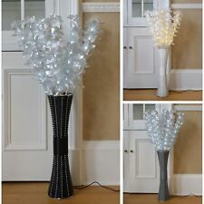 Fibre Optic Rattan Lamp Floor Standing Flower Light Wicker Style Base 1m Tall