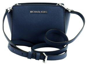Details about Michael Kors Selma Cross Shoulder Body Bag Sapphire Blue  Leather Mini Handbag