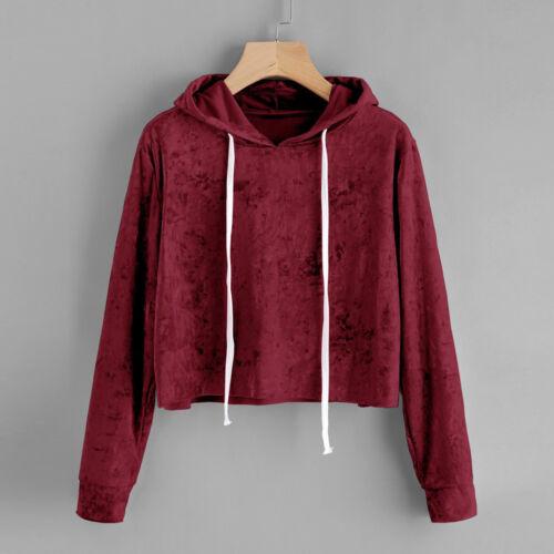 Women Sweatshirt Long Sleeve Hoodie Jumper Hooded Pullover Tops Velvet Blouse