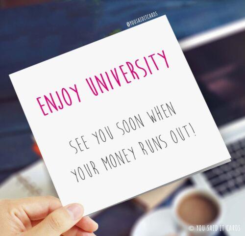 Profitez de l/'Université vous voir bientôt quand votre argent//Drôle Blague Rude bonne chance cartes