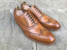 Barker Grant Wing Tip Brogue Shoes Tan Cedar Calf UK 8 B.N.I.B