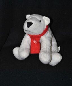 Peluche doudou ours blanc polaire LBVYR Yves Rocher écharpe rouge 18 ... a319fbbd9ba