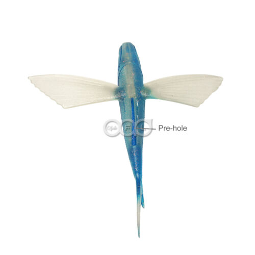"4pcs 8/"" Unrigged Flying Fish Mahi Tuna Wahoo Soft Lures Blue Silver Yummy Flyer"