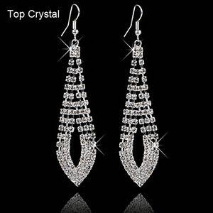 Fashion-Women-Silver-Rhinestone-Crystal-Elegant-Ear-Hook-Stud-Dangle-Earrings
