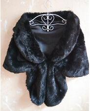 Women Faux Fur Shawl Shrug Coat BOLERO Wrap Stole Weddings Evening Gown Cape