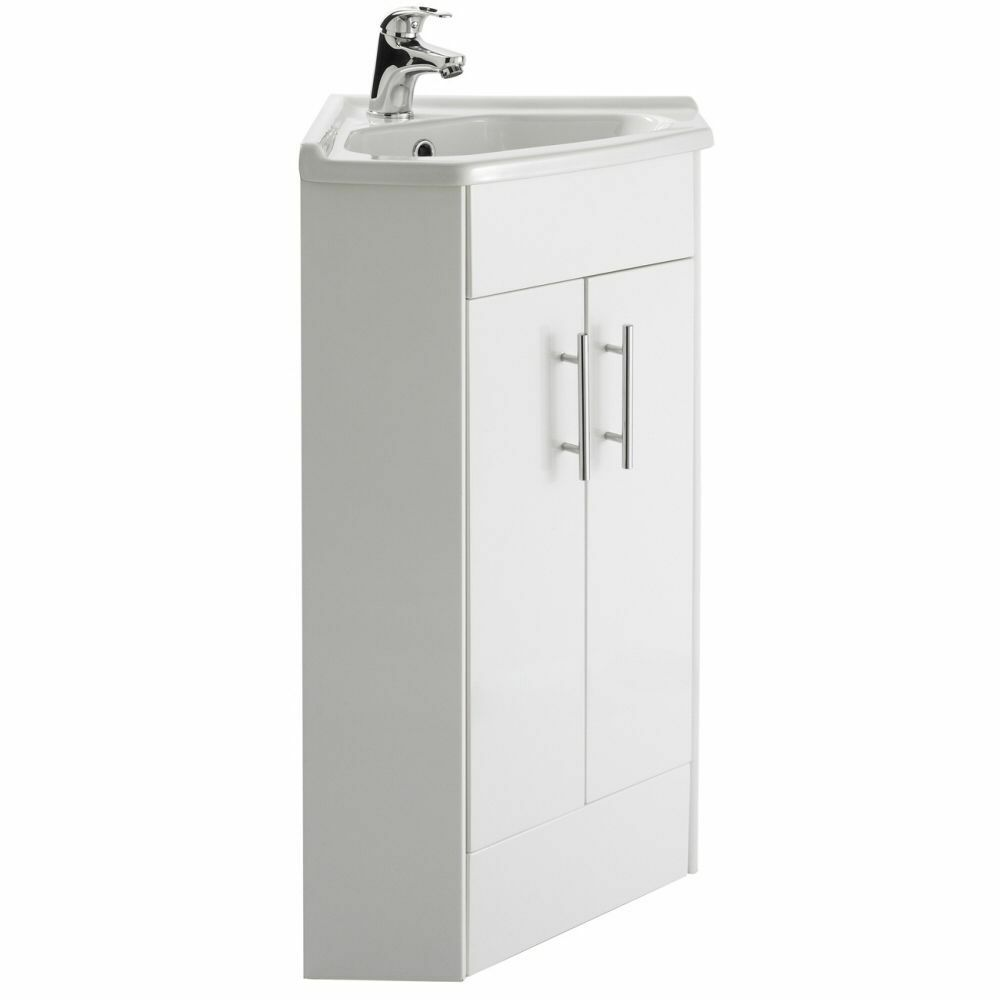 White Compact Corner Vanity Unit Bathroom Furniture Sink Cabinet Basin Ebay