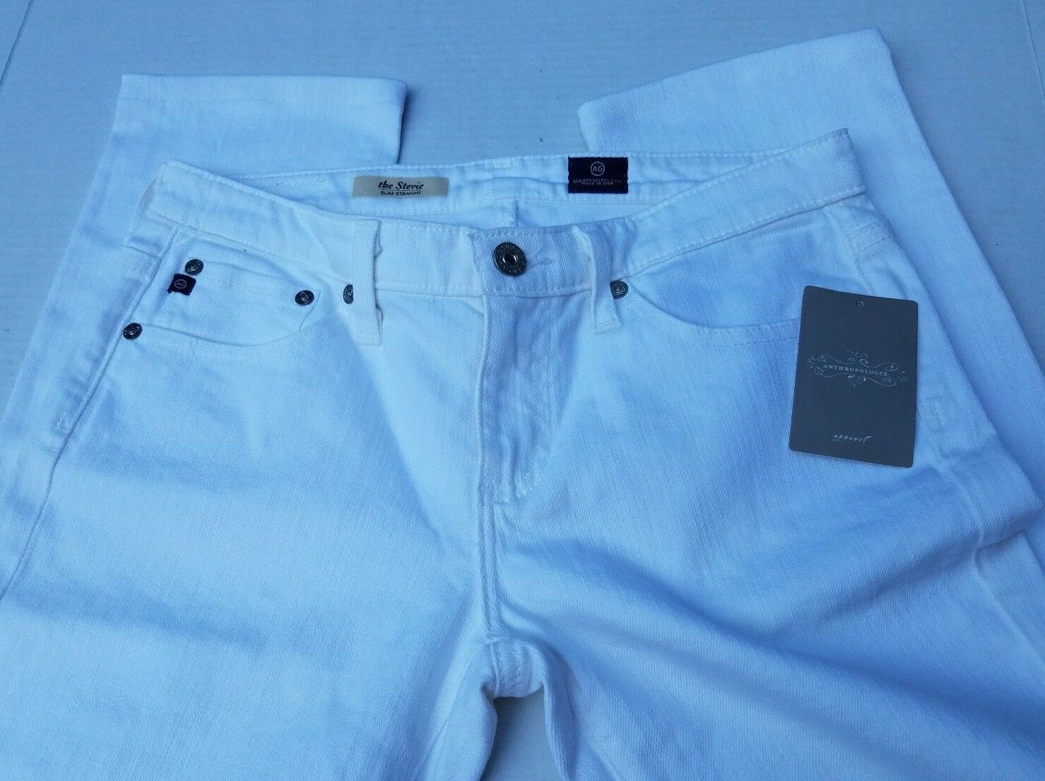 27 Anthropologie AG le Stevie Jeans Slim Straight Weiß USA Adriano Goldschmied
