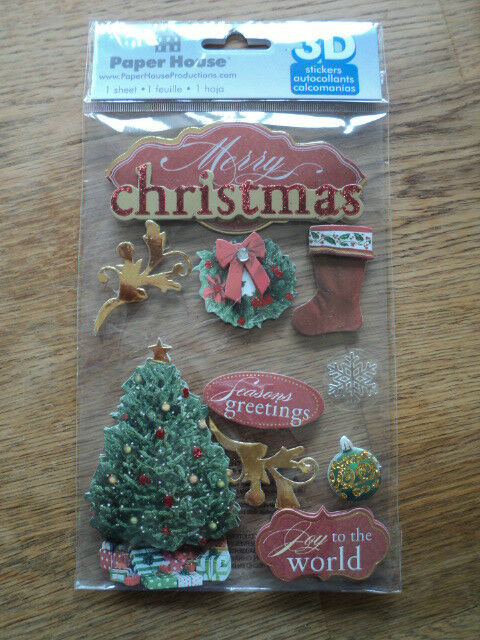 PAPER HOUSE 3D MERRY CHRISTMAS STICKERS BNIP *NEW*