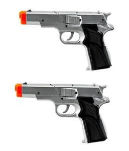 2-Police-45-Style-Semi-Auto-Cap-Pistols-Silver-Gray-Plastic-Toy-Gun