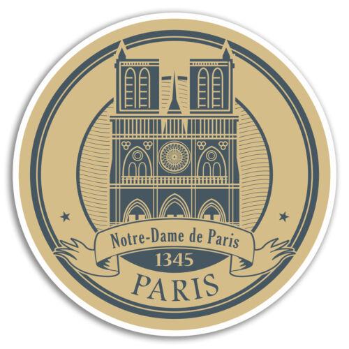 2 x 10cm Paris Notre Dame Vinyl Stickers France Travel Sticker Luggage #17345