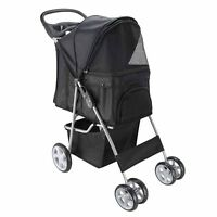 Paws & Pals City Walk N Stride 4 Wheeler Pet Stroller for Dogs and Cats (Black)