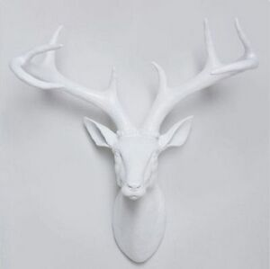 Image Is Loading Funky Large White Stag Deer Head Wall Mounted