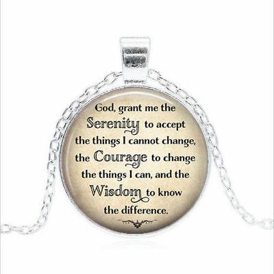 "925 silver 20/"" necklace SERENITY PRAYER CROSS women men pendant FREE GIFT BOX"