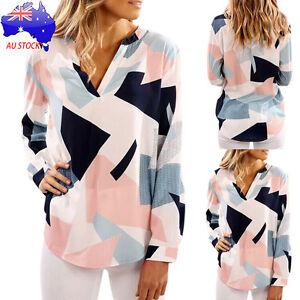 AU-Women-039-s-Plus-Size-Casual-Loose-T-Shirt-V-Neck-Long-Sleeve-Shirts-Tops-Blouse