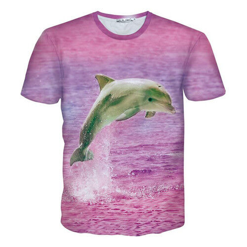 Womens//Mens Pink Dolphin Show Over the Sea 3D Print Casual T-Shirt Short Sleeve